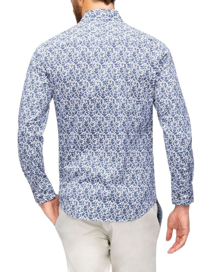 White Ground Navy Floral Print Business Shirt image 3