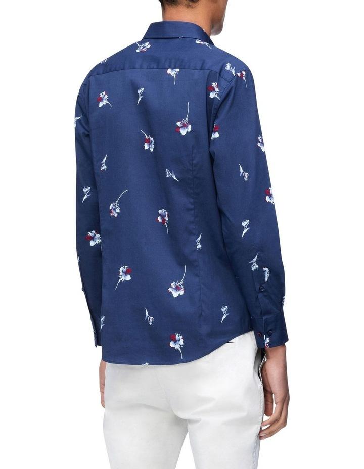 Navy Floral Print Business Shirt image 2
