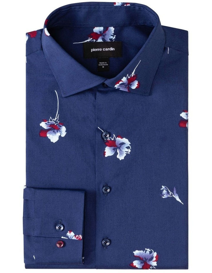 Navy Floral Print Business Shirt image 3