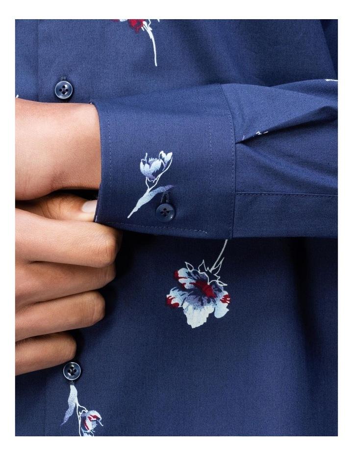 Navy Floral Print Business Shirt image 4