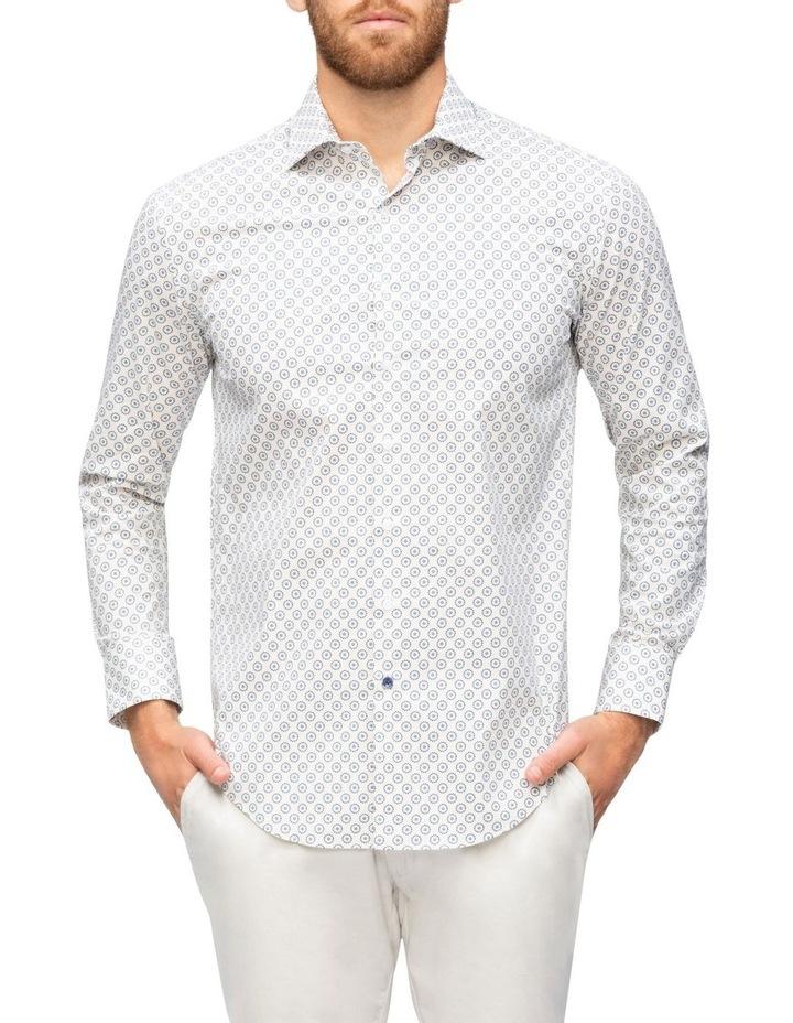 White Ground Navy & Blue Circle Print Business Shirt image 1