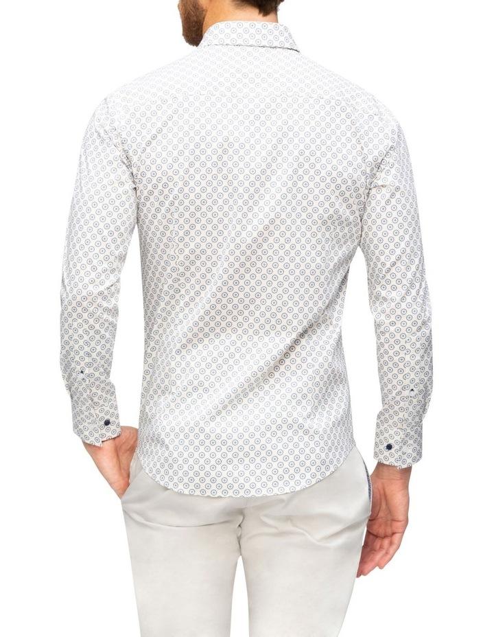 White Ground Navy & Blue Circle Print Business Shirt image 2