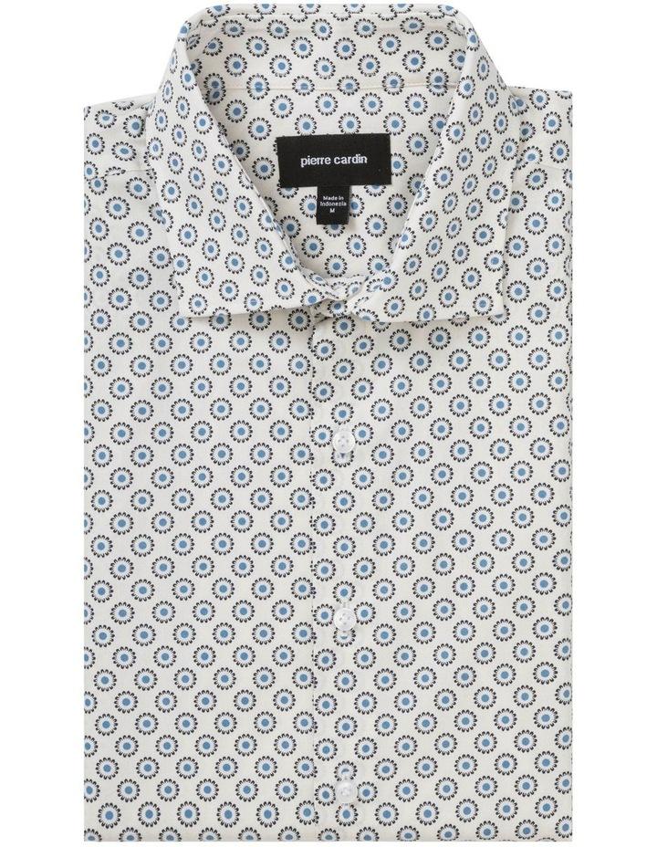 White Ground Navy & Blue Circle Print Business Shirt image 3