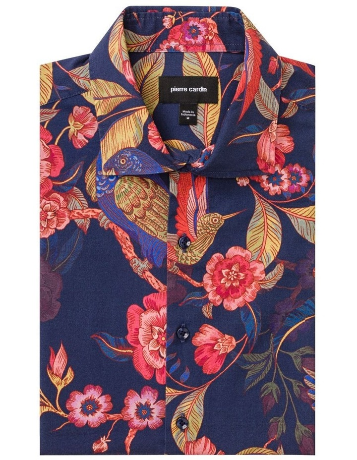 Indigo With Large Red Floral Digital Print Business Shirt image 1