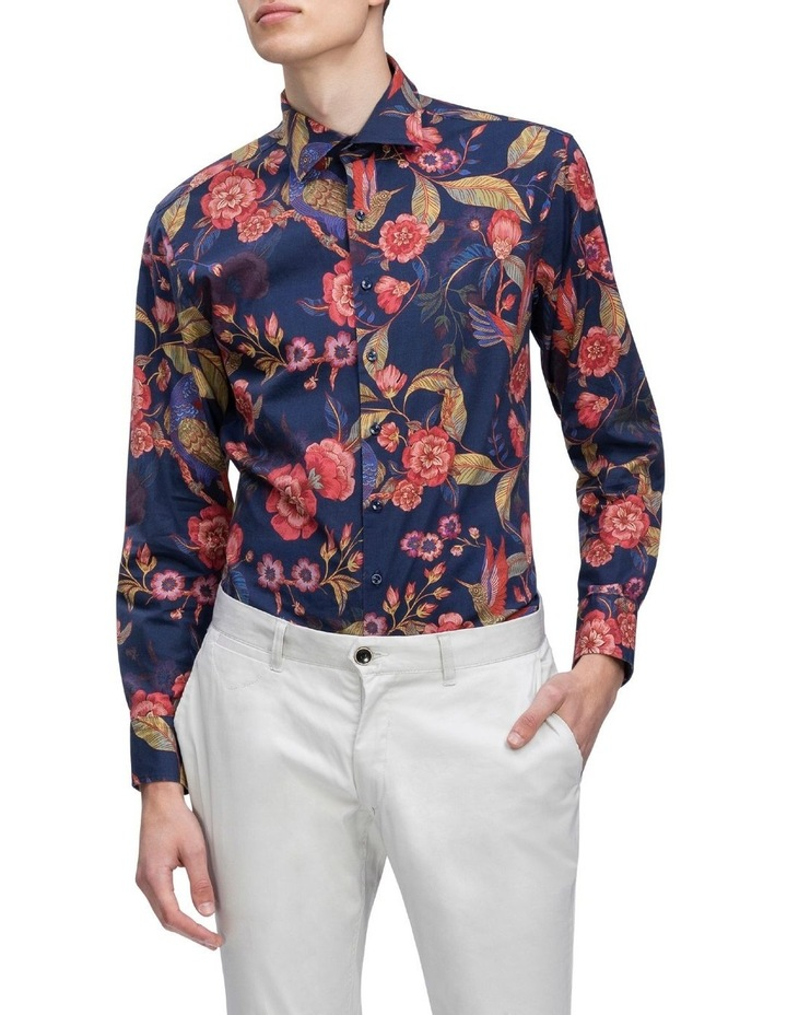 Indigo With Large Red Floral Digital Print Business Shirt image 2