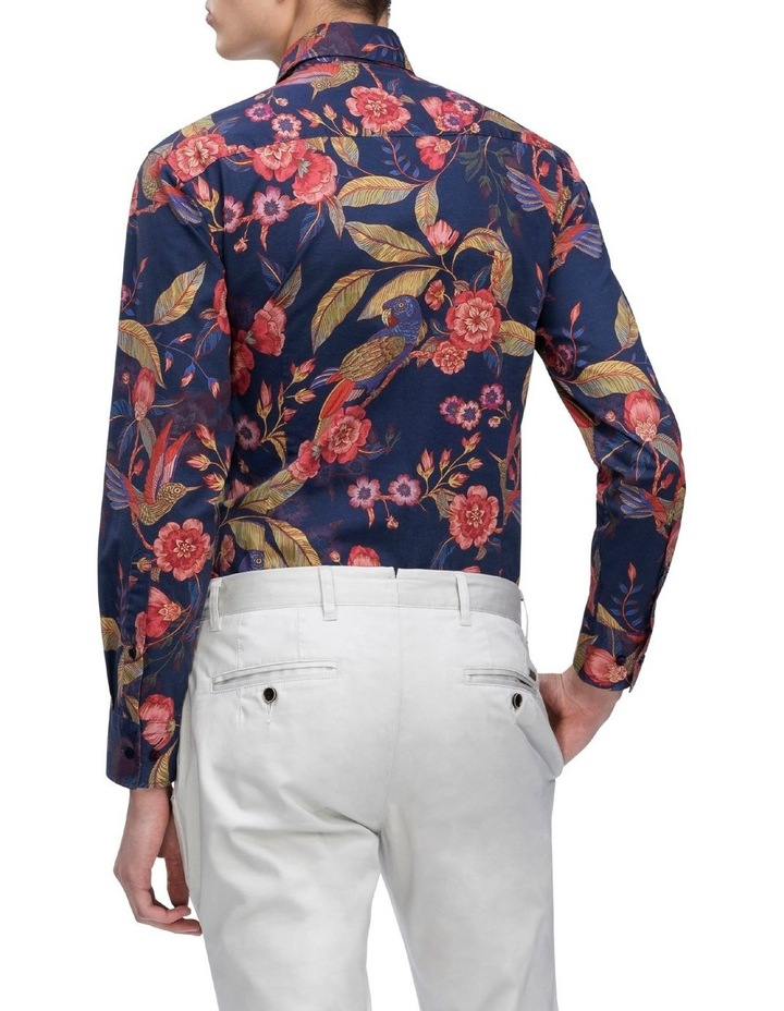 Indigo with Large Red Floral Digital Print Business Shirt image 3