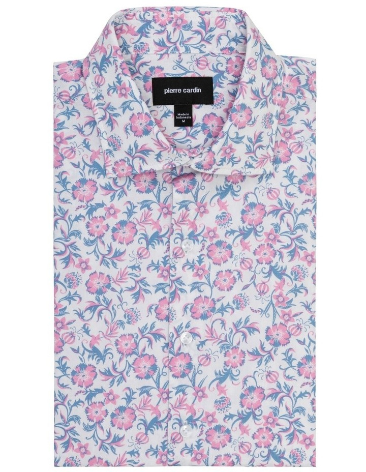 White Ground Pink & Blue Floral Business Shirt image 1