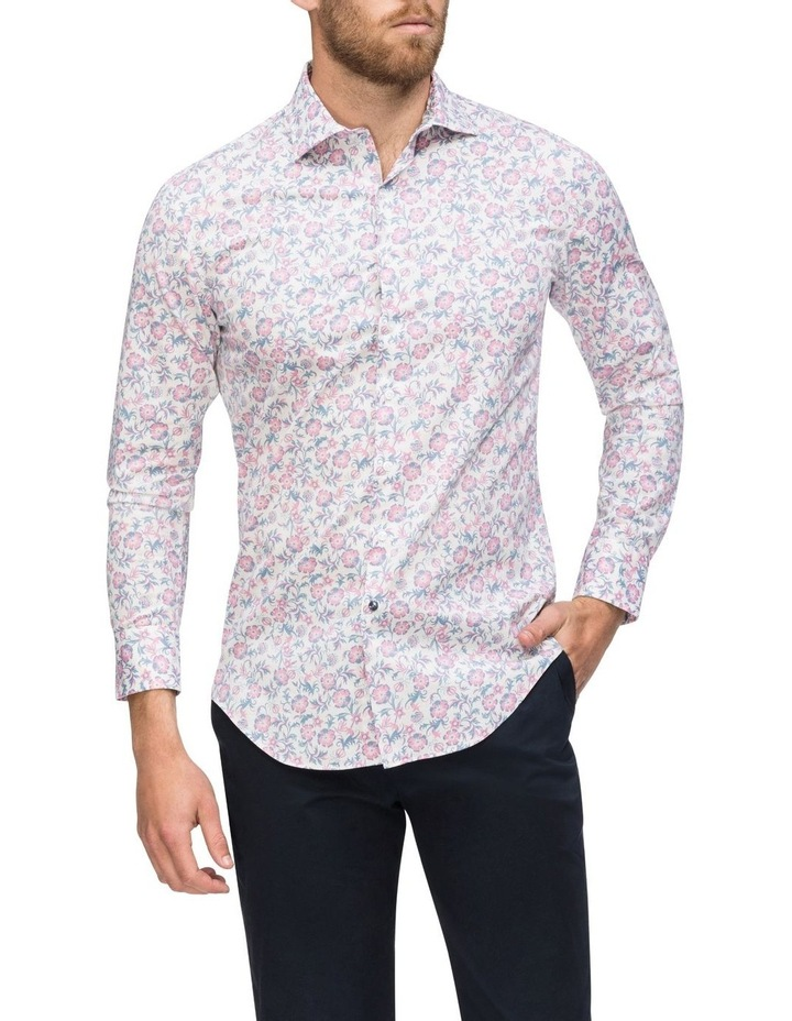 White Ground Pink & Blue Floral Business Shirt image 2