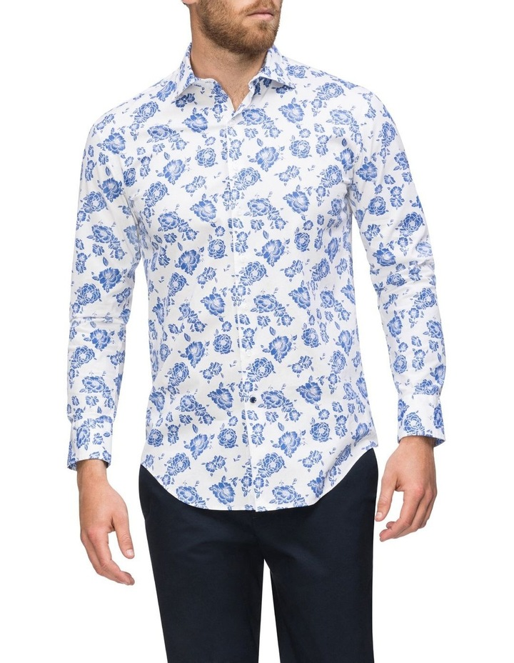 White Ground Blue Floral Business Shirt image 2