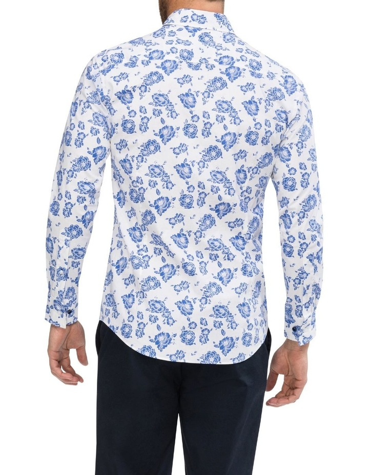 White Ground Blue Floral Business Shirt image 3