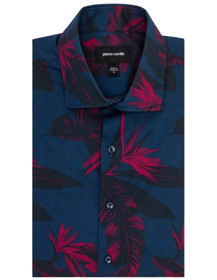 Navy with Large Burgundy Floral Print Business Shirt image 1