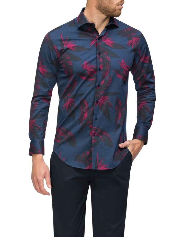 Navy With Large Burgundy Floral Print Business Shirt image 2