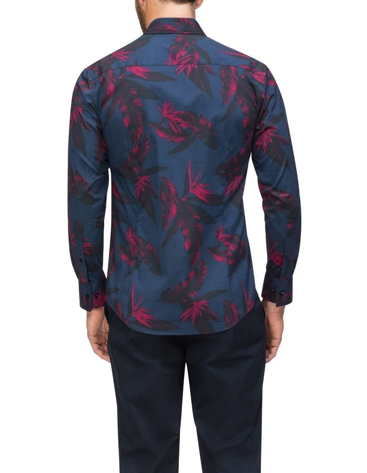 Navy With Large Burgundy Floral Print Business Shirt image 3