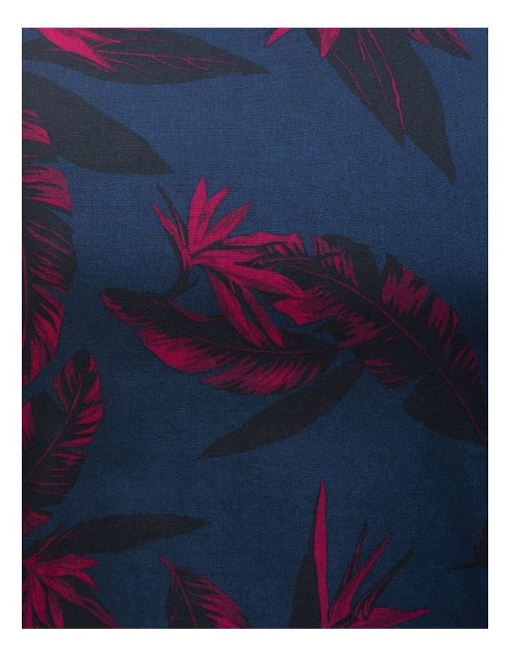 Navy with Large Burgundy Floral Print Business Shirt image 4