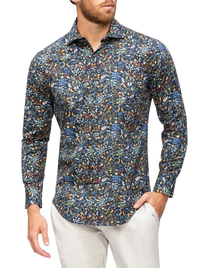 Navy with Coloured Floral Digital Print Business Shirt image 1