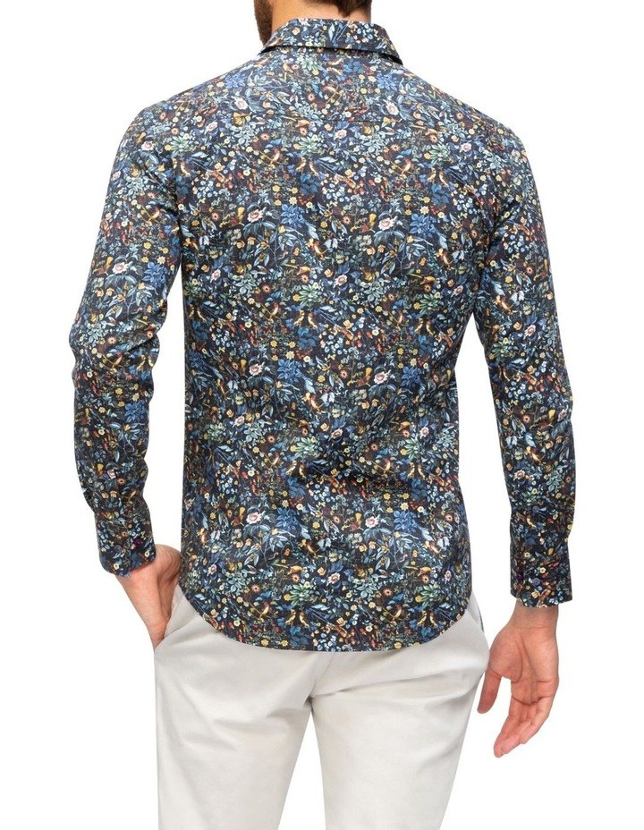 Navy with Coloured Floral Digital Print Business Shirt image 2
