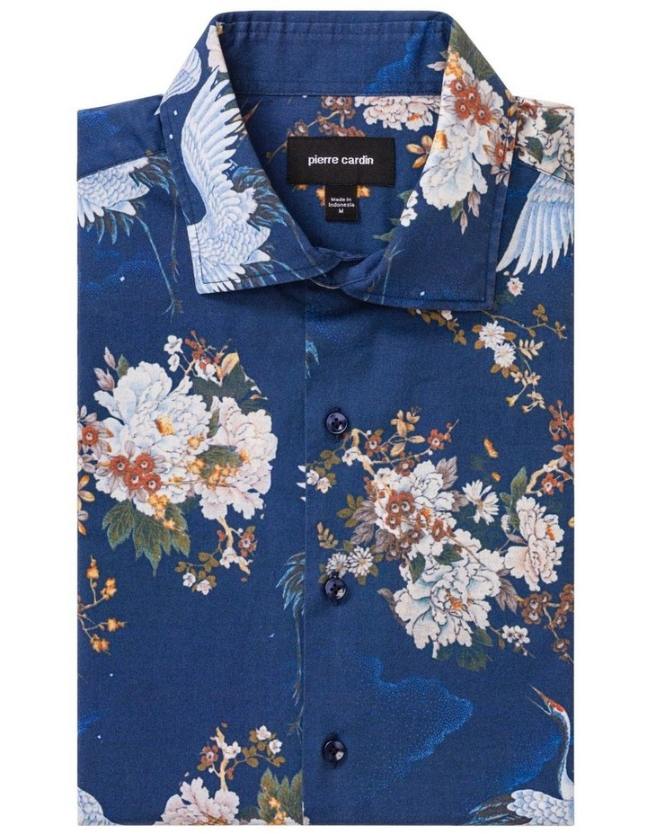 Blue With White Bird Digital Floral Print Business Shirt image 1