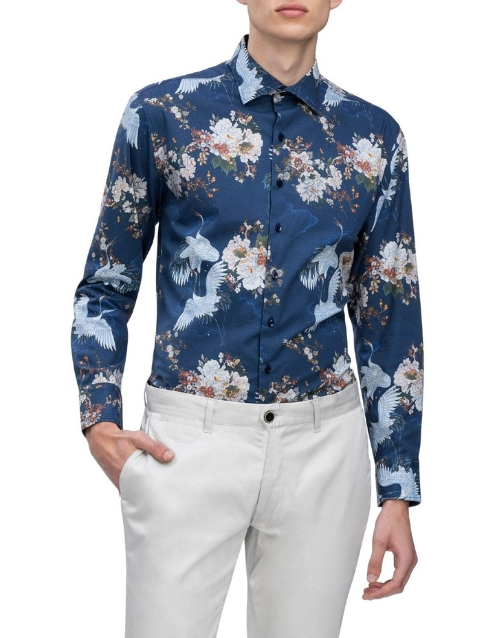 Blue With White Bird Digital Floral Print Business Shirt image 2
