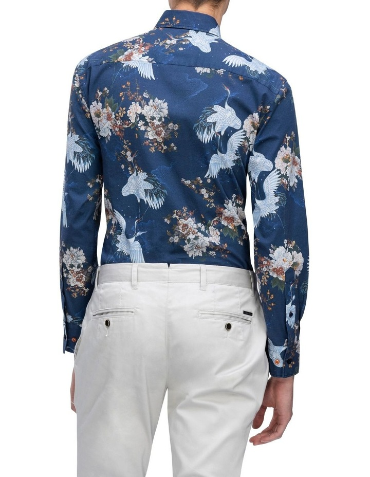 Blue With White Bird Digital Floral Print Business Shirt image 3