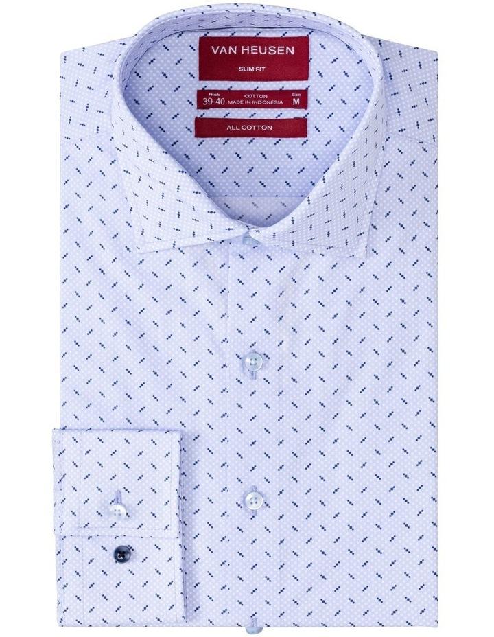 Blue, White & Navy Geo Print Business Shirt image 1