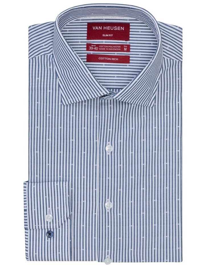 White & Navy Stripe With Dobby Business Shirt image 1