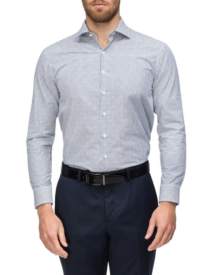 White & Navy Stripe With Dobby Business Shirt image 2