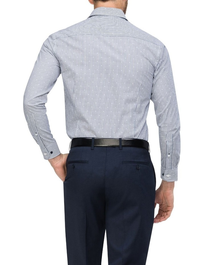 White & Navy Stripe With Dobby Business Shirt image 3
