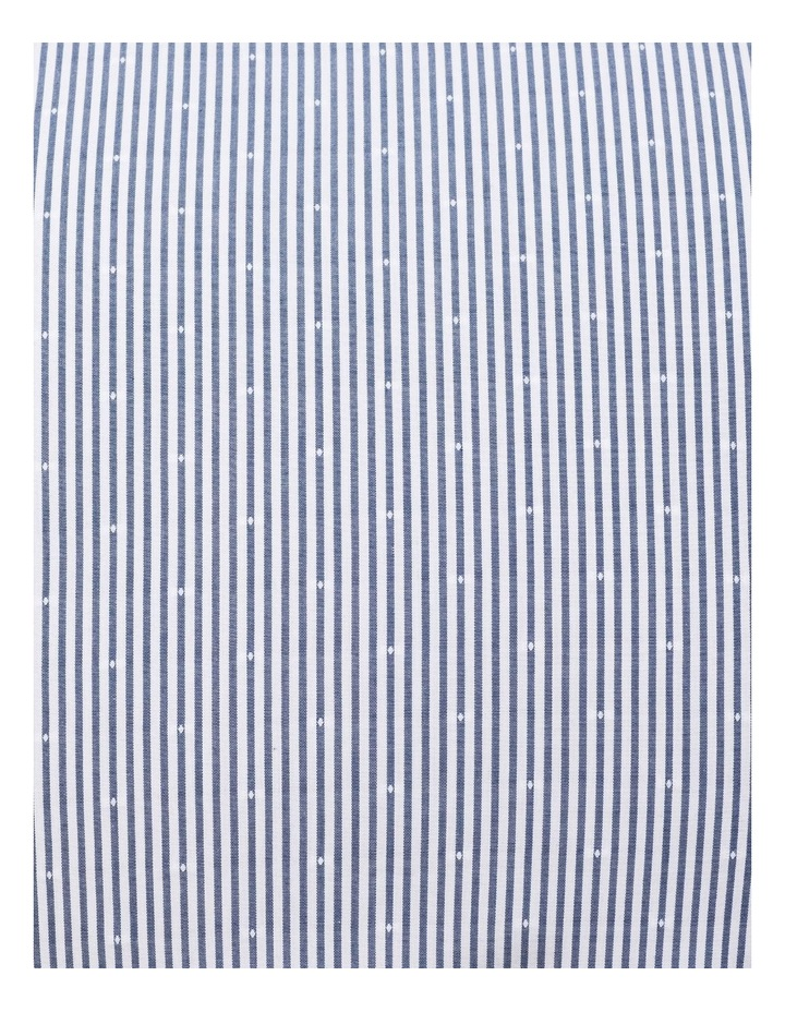 White & Navy Stripe With Dobby Business Shirt image 4