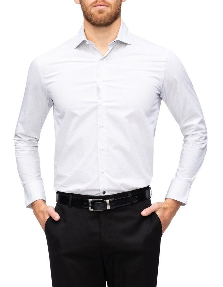 White Ground Diamond Spot Print Business Shirt image 1