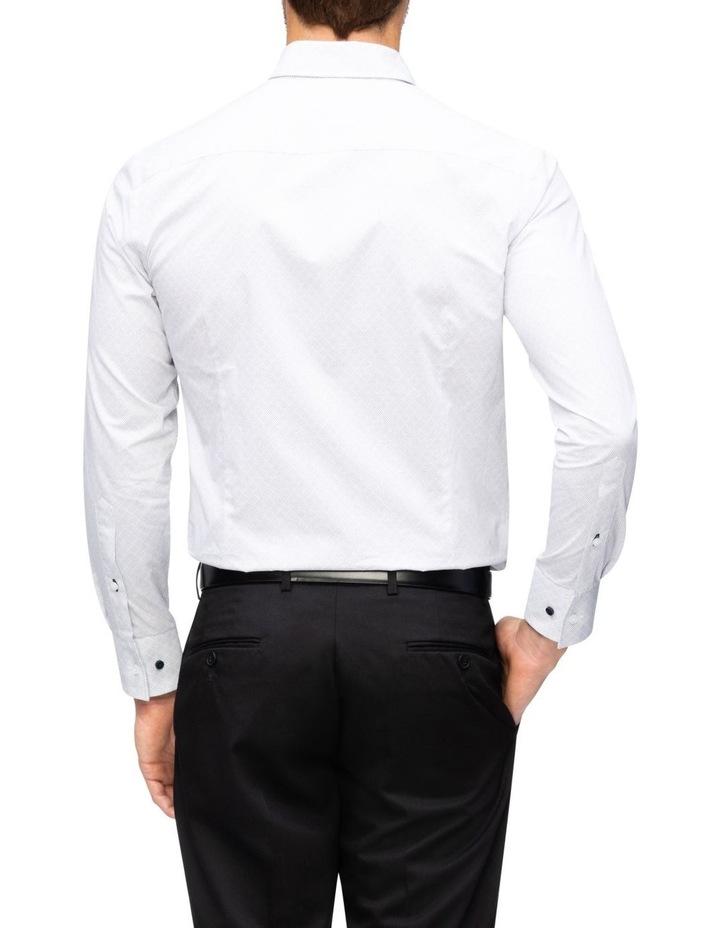 White Ground Diamond Spot Print Business Shirt image 2