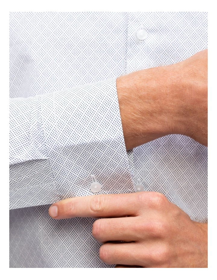 White Ground Diamond Spot Print Business Shirt image 3