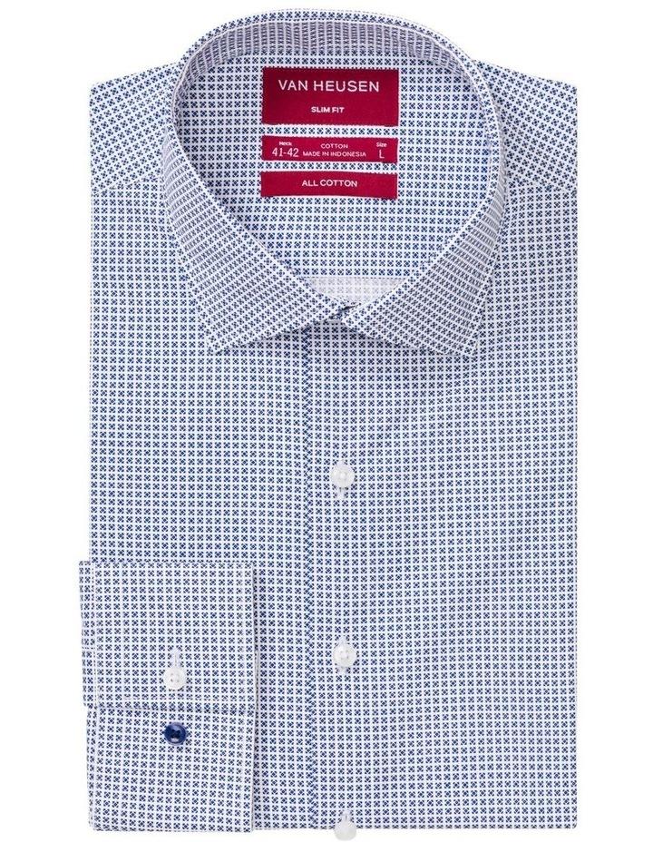 White Ground Check Print Business Shirt image 1