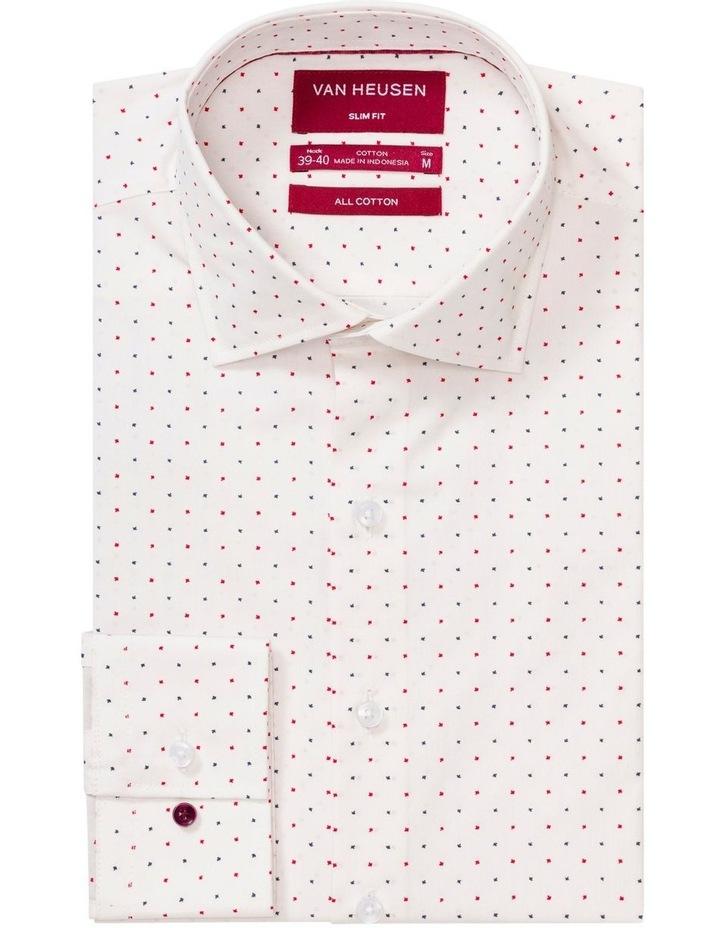 White Ground Navy & Red Cross Print Business Shirt image 1