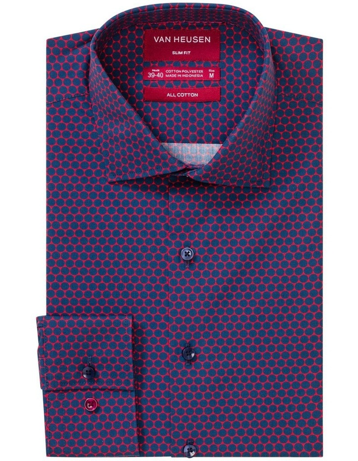 White Ground with Navy Circles Print Business Shirt image 1