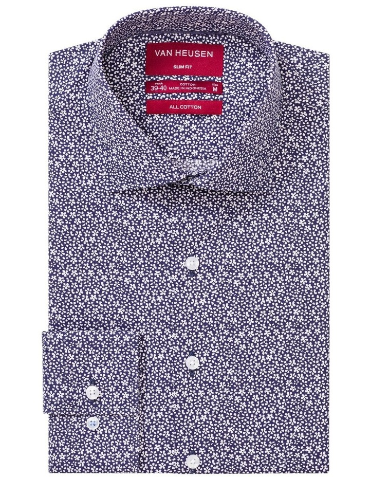 Navy Ground with Small White Floral Print Business Shirt image 1