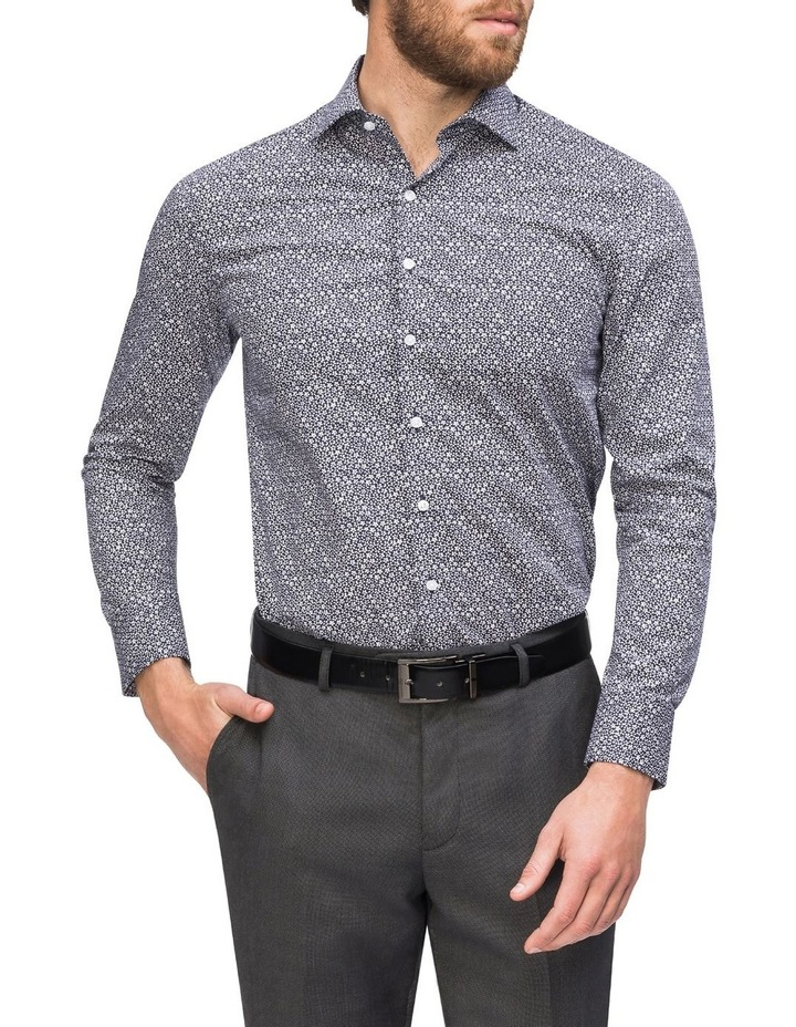 Navy Ground with Small White Floral Print Business Shirt image 2