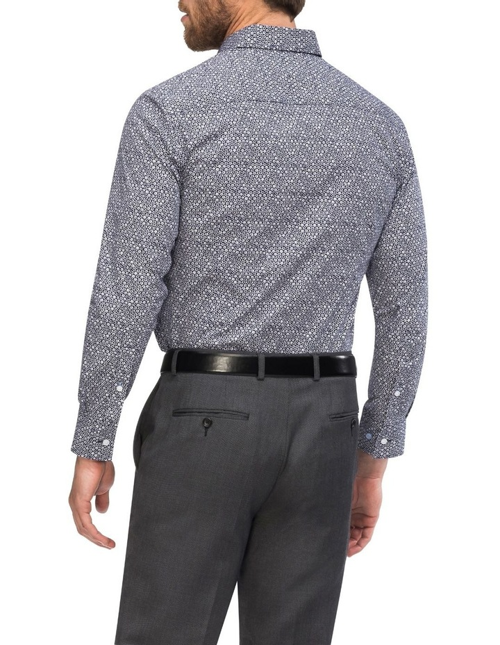Navy Ground with Small White Floral Print Business Shirt image 3