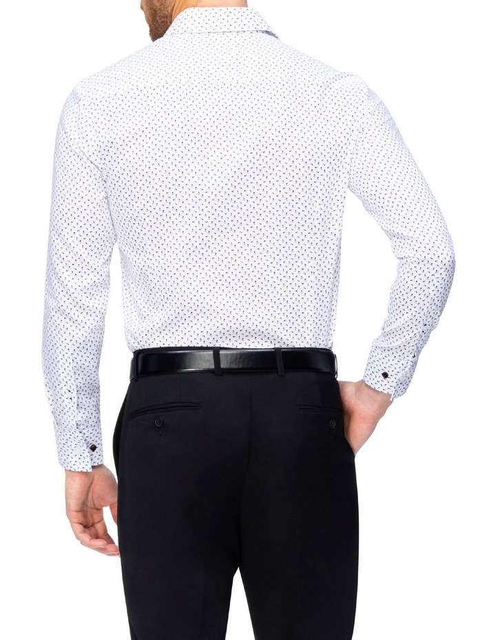 White Ground With Red Flower Print Commuter Business Shirt image 3