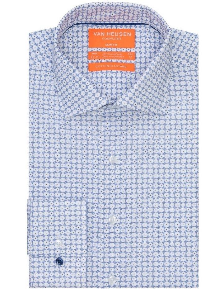 Blue & White Circle Print Commuter Business Shirt image 1