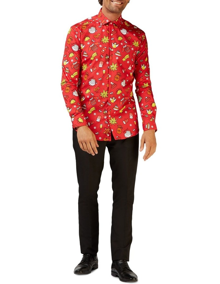 Men's Christmas Doodle Red Shirt image 1