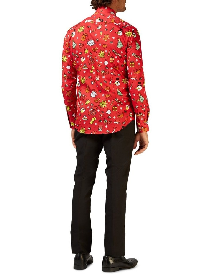 Men's Christmas Doodle Red Shirt image 2