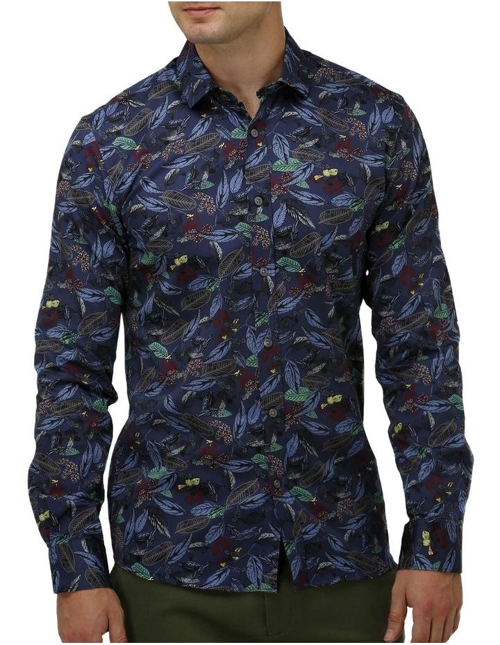 Tonal Hawaiian Print Satin Business Shirt image 1