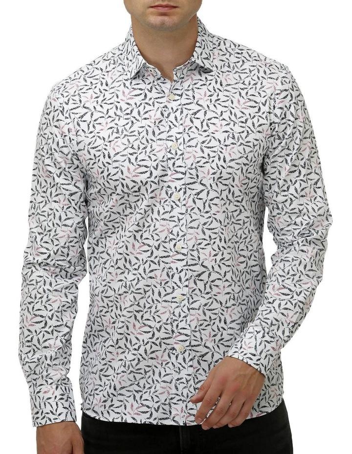 Geo Leaf Print Satin Business Shirt image 1