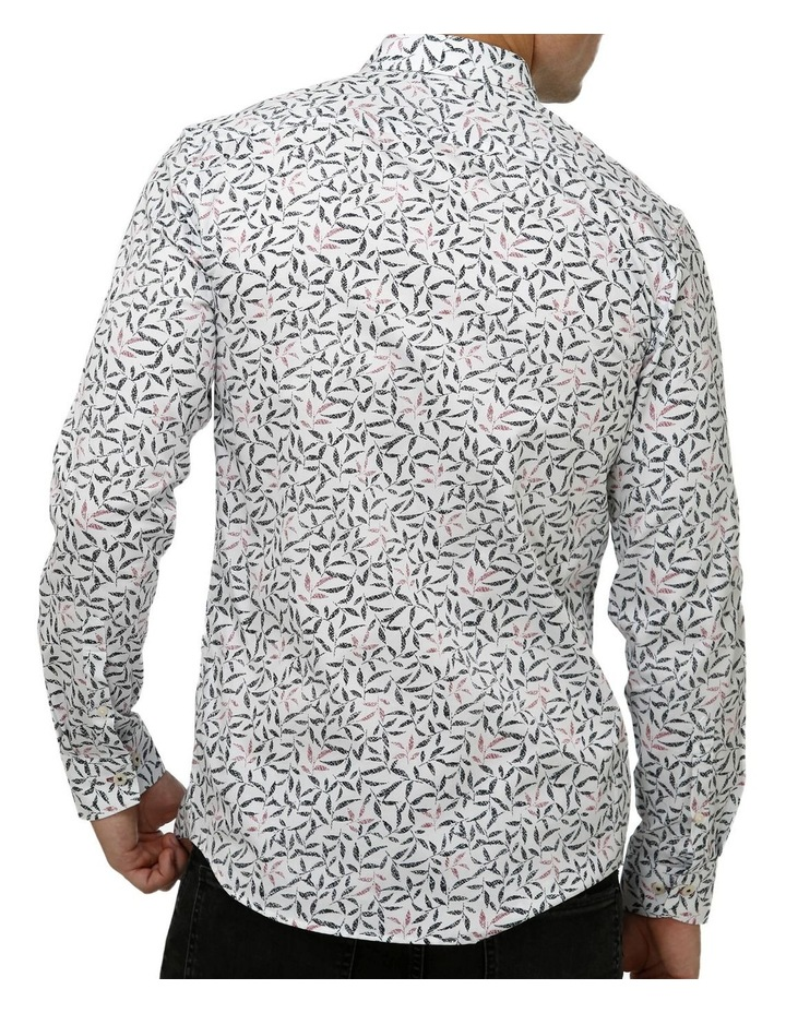 Geo Leaf Print Satin Business Shirt image 3