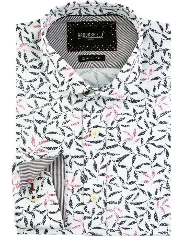Geo Leaf Print Satin Business Shirt image 4