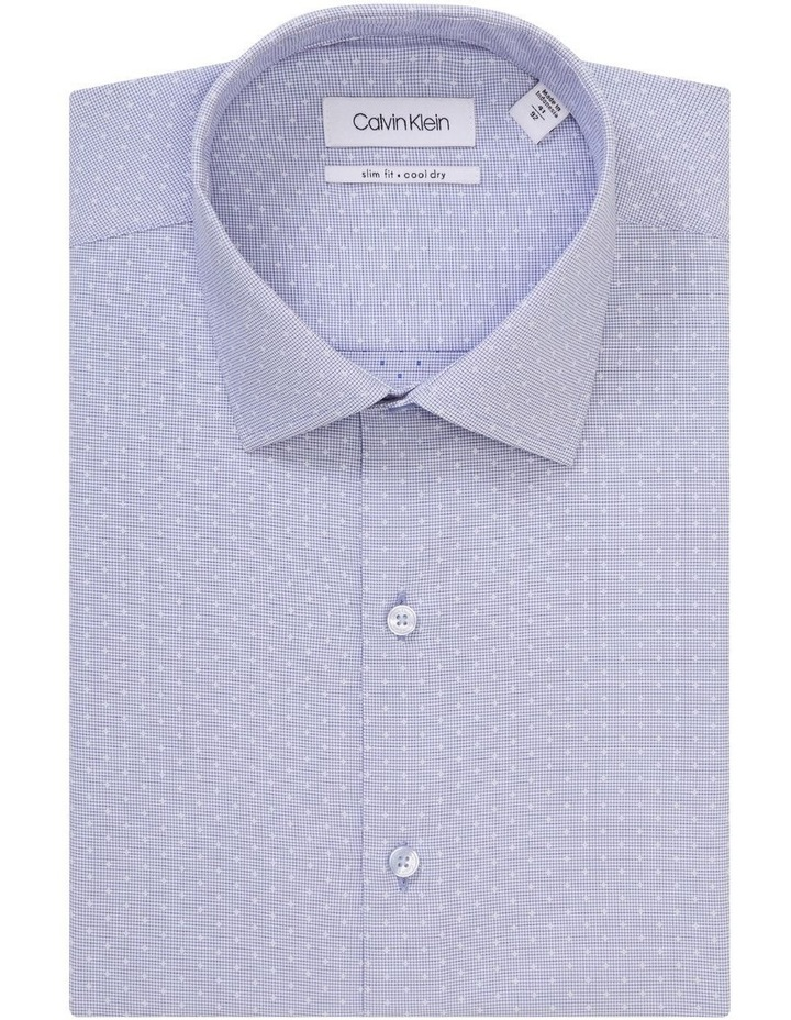 Blue Microcheck With Dobby Cotton Touch Shirt image 1