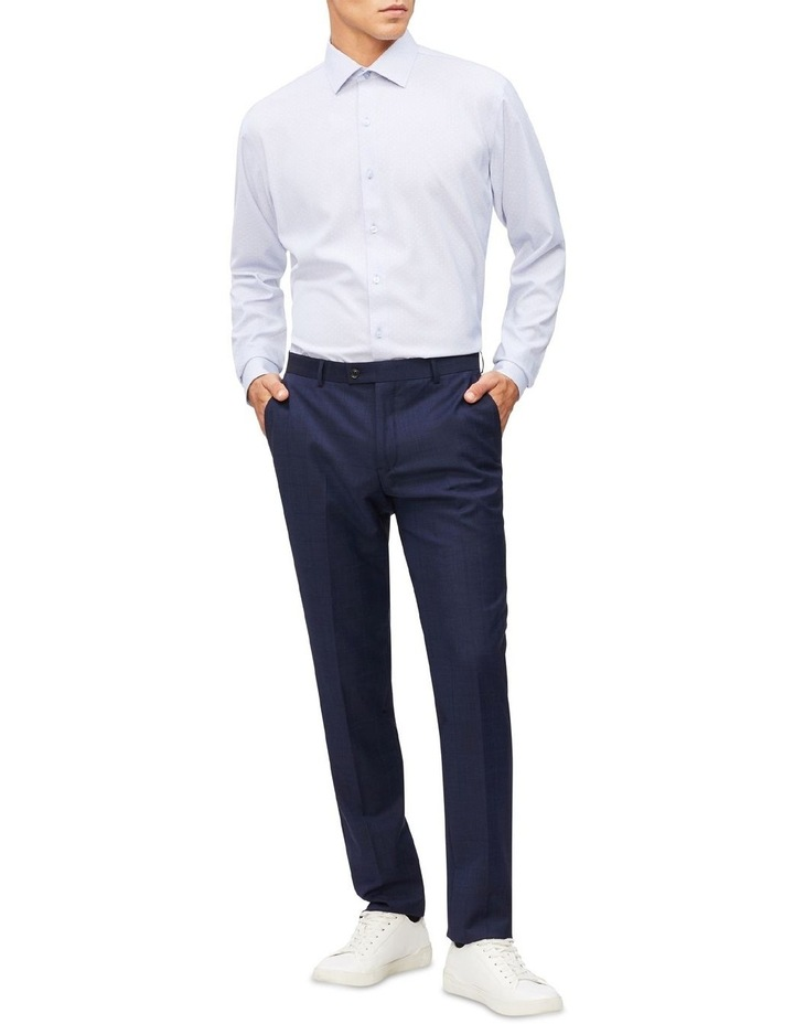 Blue Microcheck With Dobby Cotton Touch Shirt image 2