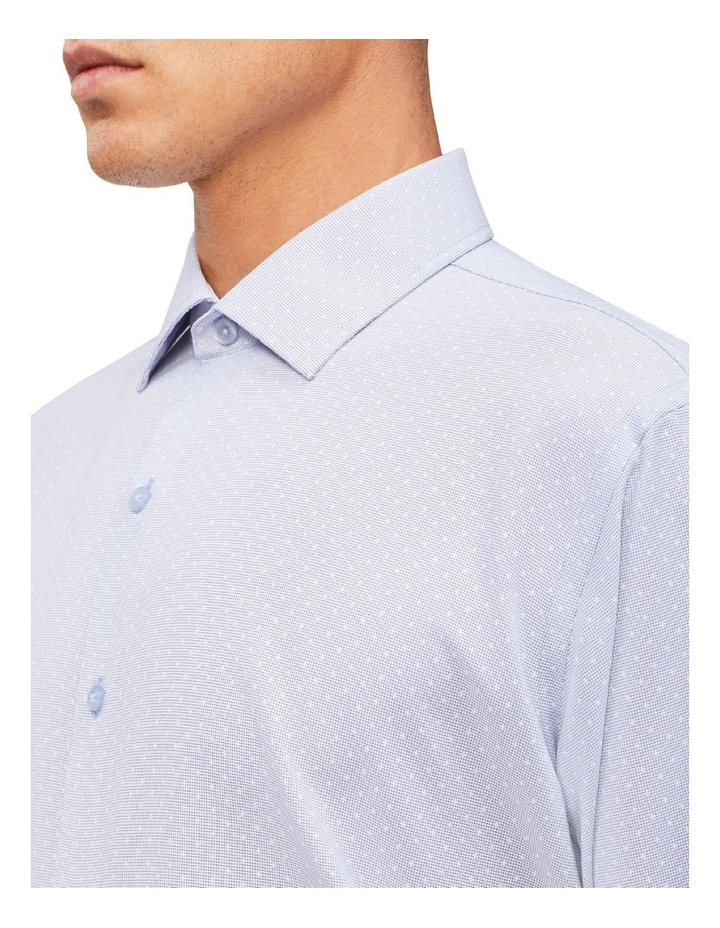 Blue Microcheck With Dobby Cotton Touch Shirt image 4