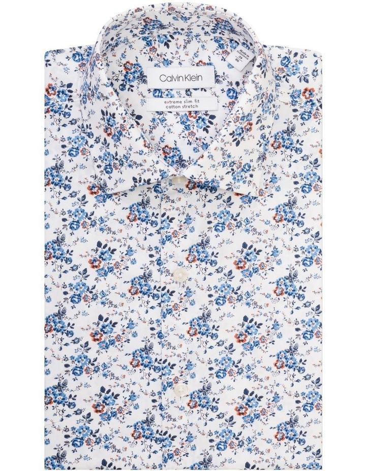 White Ground Blue & Coffee Print Shirt image 1