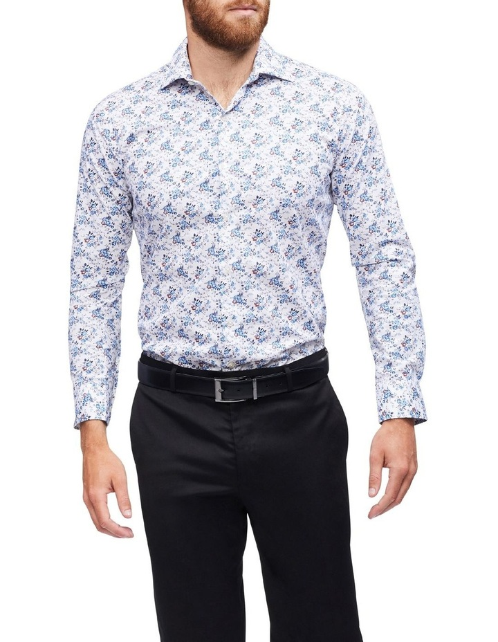 White Ground Blue & Coffee Print Shirt image 2